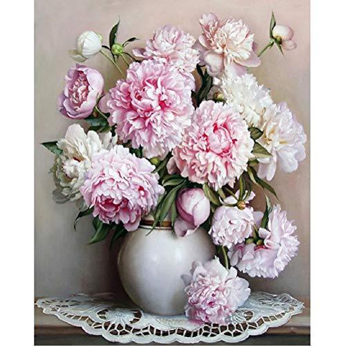 DIY Malen nach Zahlen Kits für Erwachsene Blume Leinwand Ölgemälde Set Anfänger mit Pinsel Home Dector Geschenk - 16 x 20 Zoll ohne Rahmen