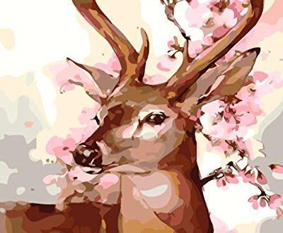 Fuumuui DIY Malen Nach Zahlen-Vorgedruckt Leinwand-Ölgemälde Geschenk für Erwachsene Kinder Kits Home Haus Dekor - Pink Deer 40*50 cm