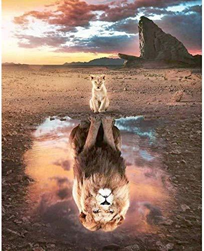 LSDEERE DIY Malen nach Zahlen Kinder für Erwachsene Anfänger Leinen Leinwand Acryl Anzahl Malerei Geschenke Abstrakte Kunst Tier Tiger Löwe Leopard 40x50cm(GTR-5560