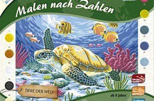 MAMMUT 109203 - Malen nach Zahlen Tiermotiv, Seeschildkröte, Komplettset mit bedruckter Malvorlage im A3 Format, 10 Acrylfarben und Pinsel, großes Malset für Kinder ab 8 Jahre