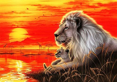 WOWDECOR DIY Malen nach Zahlen für Erwachsene Kinder Mädchen, König der Löwen Sonnenuntergang Meer 40x50cm Vorgedruckt Leinwand-Ölgemälde (ohne Rahmen)