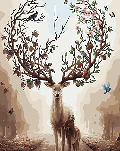 golden maple DIY Malen nach Zahlen-Ölgemälde Geschenk für Erwachsene Kinder Malen Nach Zahlen Kits Mit Holzrahmen Home Haus Dekor --Deers 40*50 cm