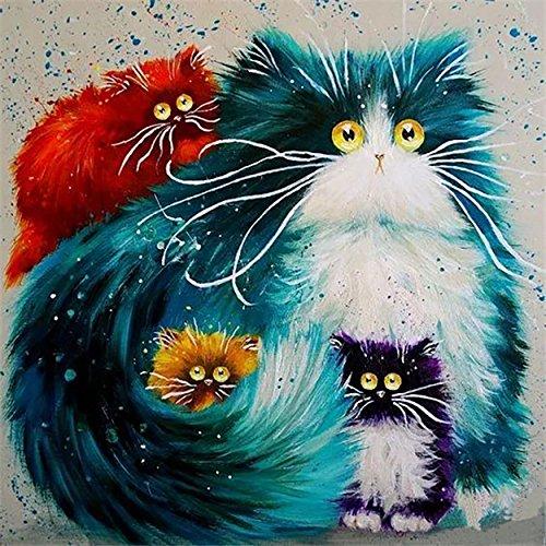 Fuumuui DIY Malen Nach Zahlen-Vorgedruckt Leinwand-Ölgemälde Geschenk für Erwachsene Kinder Kits Home Haus Dekor - Katzen 40*50 cm